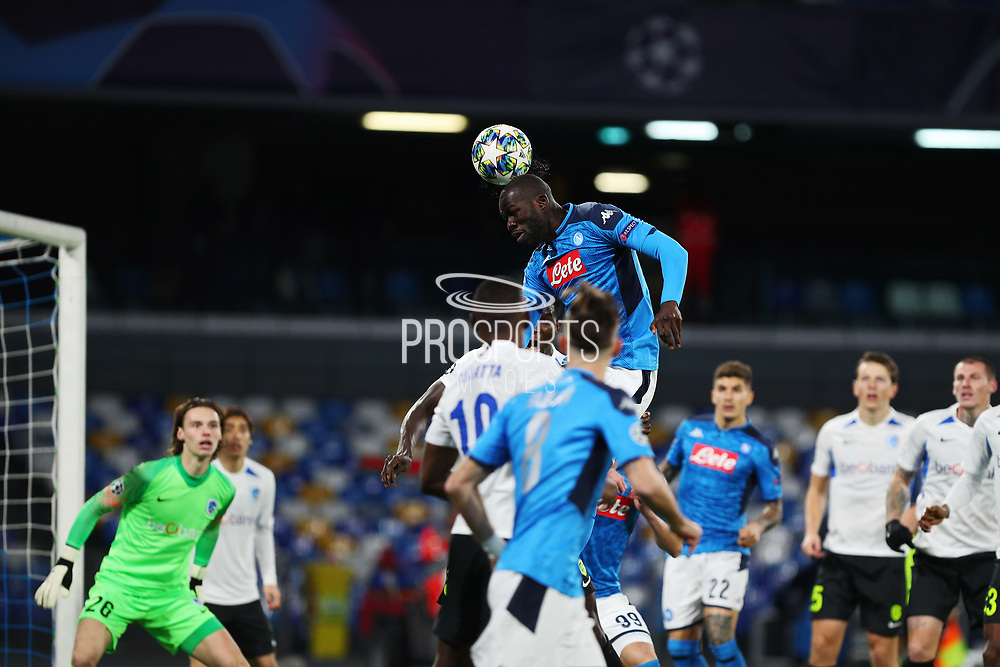 Kalidou Koulibali of Napoli goes for a header during the UEFA Champions League, Group E football match between SSC Napoli and KRC Genk on December 10, 2019 at Stadio San Paolo in Naples, Italy - Photo Federico Proietti / ProSportsImages / DPPI