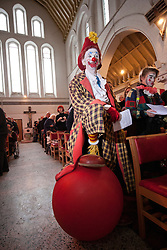 © licensed to London News Pictures. London, UK 05/02/12. The annual clown service in memory of Grimaldi at the Holy Trinity Church in Dalston, London. Photo credit: Tolga Akmen/LNP