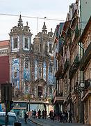 View from Rua de 31 de Janeiro (January 31 Street) on Church of Saint Ildefonso of Toledo in Santo Ildefonso civil parish of Porto city, Portugal