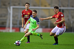 LEIGH, ENGLAND - Tuesday, October 18, 2016: Liverpool's captain Harry Wilson and his Wales compatriot Manchester United's Regan Poole during the FA Premier League 2 Under-23 match at Leigh Sports Village. (Pic by David Rawcliffe/Propaganda)