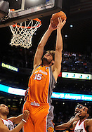 Mar. 21 2010; Phoenix, AZ, USA; Phoenix Suns center Robin Lopez (15) puts up a shot in the second half at the US Airways Center.  The Suns defeated the Trail Blazers 93 to 87. Mandatory Credit: Jennifer Stewart-US PRESSWIRE.