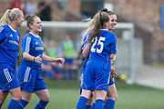 Forfar Farmington's Megan McCarthy is congratulated after looping home a header for the winning goal - Forfar Farmington v Hamilton Academical in the SWPL Premier League One at Station Park, Forfar, <br /> <br /> <br />  - &copy; David Young - www.davidyoungphoto.co.uk - email: davidyoungphoto@gmail.com
