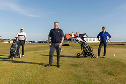 Golf returns to Scotland, Dunbar, 29 May 2020 <br /> <br /> Pictured: The first golfers, Steven Miller and Mike Gilmartin with Jacky Montgomery, Director of Golf on the first at Dunbar Golf Club. Players have returned to the greens as the first phase of COVID restrictions are lifted.<br /> <br /> (c) Richard Dyson | EdinburghElitemedia.co.uk 2020
