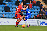 Callum Camps challenged by Bradley Dack during the EFL Sky Bet League 1 match between Gillingham and Rochdale at the MEMS Priestfield Stadium, Gillingham, England on 26 November 2016. Photo by Daniel Youngs.
