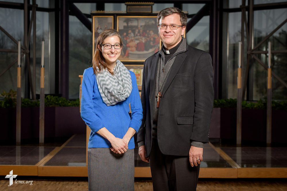 Portrait of the Rev. Ted Krey, regional director of Latin America Missions for the LCMS, and Erin Mackenzie, new missionary to the Dominican Republic, following a Service of Sending for new missionaries on Friday, March 16, 2018, in the chapel of the International Center of The Lutheran Church–Missouri Synod in St. Louis.  LCMS Communications/Erik M. Lunsford