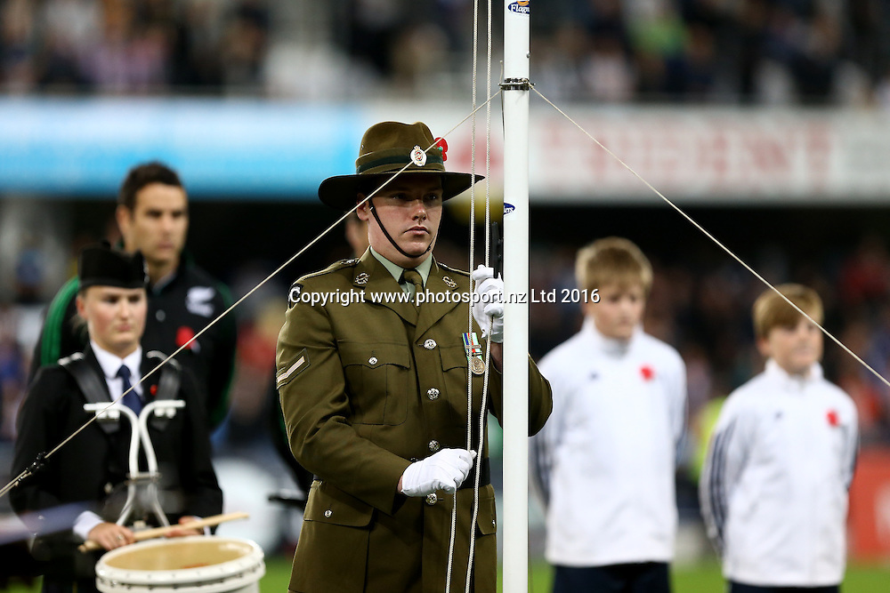 Activities during the Anzac commemoration  prior to the Super Rugby match between the Highlanders and Sharks, Forsyth Barr Stadium, Dunedin, Friday, April 22, 2016. Photo: Dianne Manson / www.photosport.nz
