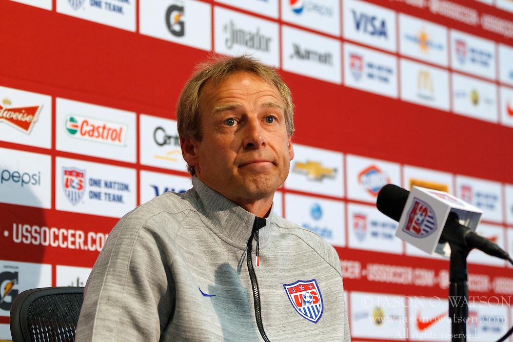 PALO ALTO, CA - MAY 23:  U.S. Men's National Soccer Team Head Coach Jurgen Klinsmann speaks during a press conference at Stanford University on May 23, 2014 in Palo Alto, California.  (Photo by Jason O. Watson/Getty Images) *** Local Caption *** Jurgen Klinsmann