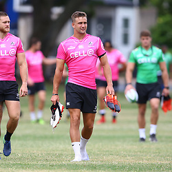 Cameron Wright and Jeremy Ward during the cell c sharks pre season training session at  Growthpoint Kings Park ,25,01,2018 Photo by Steve Haag)
