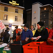 The third and final day of the Strike WEF march on Davos, 21th of January 2020, Switzerland. The marchers have arrived in Davos after dark after 6 hours crossing the mountains. The march on the last day started in Klosters where hundreds of activists took the mountain path to Davos.  The authorities would not allow the marchers to walk o the road to Davos so many opted to wlak the ten km on the ardous and snowy hiking trail.  The march is a three day protest against the World Economic Forum meeting in Davos. The activists want climate justice and think that The WEF is for the world's richest and political elite only.