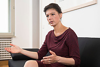 16 MAY 2016, BERLIN/GERMANY:<br /> Sahra Wagenknecht, MdB, Die Linke, Fraktionsvorsitzende DIe Linke Bundestagsfraktion, waehrend einem Interview, in ihrem Buero, Jakob-Kaiser-Haus, Deutscher Bundestag<br /> IMAGE: 20170516-02-042<br /> KEYWORDS: B&uuml;ro