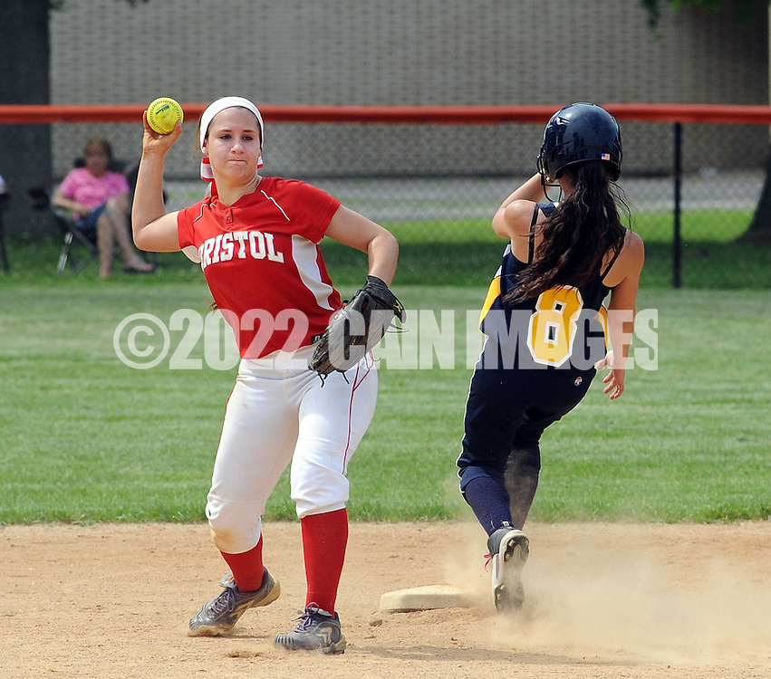 FAIRLESS HILLS, PA - MAY 27:  Bristol shortstop Olivia D'Emmidio holds onto the ball after putting out Morrisville's Shayla Santiago #8 at second base during a District One Class A softball semifinal game May 27, 2014 in Fairless Hills, Pennsylvania. Bristol defatted Morrisville 10-0 in five innings. (Photo by William Thomas Cain/Cain Images)