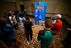 Florida Gators coach Dan Mullen speaks with the media at the team hotel on Monday, December 24, 2018 in Atlanta. Florida will face Michigan in the 2018 Peach Bowl on December 29, 2018. (Jason Parkhurst via Abell Images for the Chick-fil-A Peach Bowl)