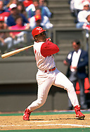 CINCINNATI - 1994:  Barry Larkin of the Cincinnati Reds bats during an MLB game at Riverfront Stadium in Cincinnati, Ohio during the 1994 season. (Photo by Ron Vesely).  Subject:   Barry Larkin