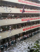 HEZE, CHINA - JUNE 02: (CHINA OUT) <br /> <br /> Senior three students tear test papers and books into pieces and throw them down the teaching building to relax themselves before the college entrance examination at a high middle school on June 2, 2016 in Heze, Shandong Province of China. The Chinese college entrance examination will be held four days later. <br /> ©Exclusivepix Media
