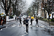 London | April 7, 2010 | Thousands visit Abbey Road Studios in northwest London every year to walk the famous zebra crossing on Abbey Road like the Beatles did in 1969 | © juelich/ip-photo.com