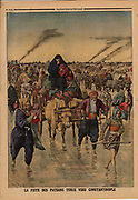 Balkan Wars: Flight of Turkish peasants towards Constantinople. From 'Le Petit Journal', Paris, 24 November 1912.
