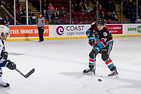 KELOWNA, CANADA - OCTOBER 5:  Kyle Topping #24 of the Kelowna Rockets passes the puck against the Victoria Royals on October 5, 2018 at Prospera Place in Kelowna, British Columbia, Canada.  (Photo by Marissa Baecker/Shoot the Breeze)  *** Local Caption ***