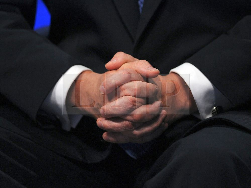 © Licensed to London News Pictures. 05/10/2011. MANCHESTER. UK. Detil of Liam Fox's hands. The Rt Hon Liam Fox MP, Secretary of State for Defence at The Conservative Party Conference at Manchester Central today, October 5, 2011. Photo credit:  Stephen Simpson/LNP