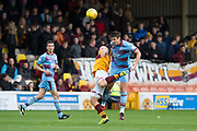 3rd November 2018, Fir Park, Motherwell, Scotland; Ladbrokes Premiership football, Motherwell versus Dundee; Darren O'Dea of Dundee competes in the air with Curtis Main of Motherwell