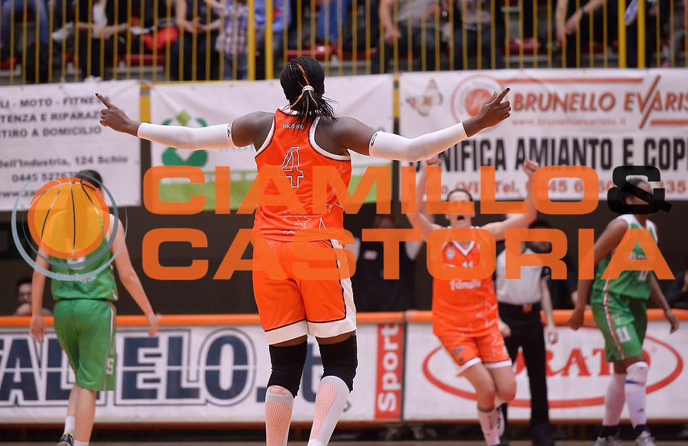 DESCRIZIONE : Campionato 2014/15 Famila Wuber Schio - Passalacqua Ragusa<br /> GIOCATORE : Yacoubou Isabelle<br /> CATEGORIA : esultanza<br /> SQUADRA : Famila Wuber Schio<br /> EVENTO : LegaBasket Serie A Femminile 2014/2015<br /> GARA :Famila Wuber Schio - Passalacqua Ragusa<br /> DATA : 24/04/2015<br /> SPORT : Pallacanestro <br /> AUTORE : Agenzia Ciamillo-Castoria/R.Morgano<br /> Predefinita :