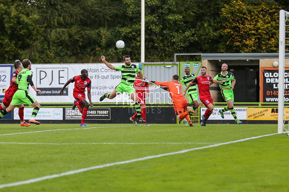 Forest Green Rovers Aarran Racine(21) heads towards goal and hits the post during the Vanarama National League match between Forest Green Rovers and Barrow at the New Lawn, Forest Green, United Kingdom on 1 October 2016. Photo by Shane Healey.
