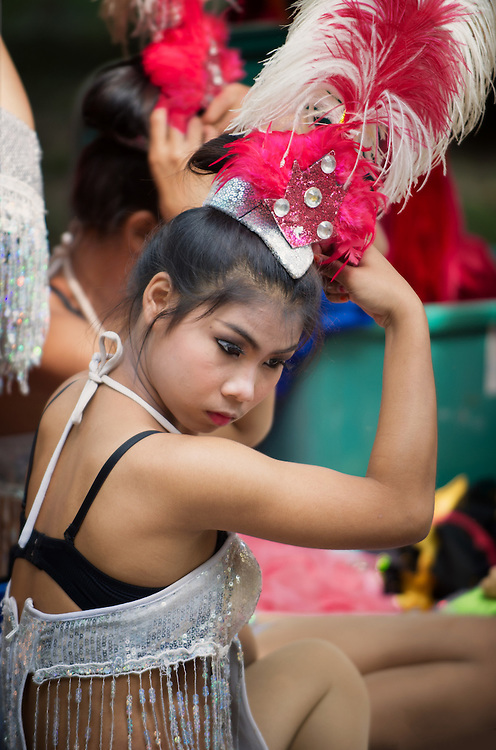 Thai dancers celebrate Songkran, Thai New Year, Nakhon Nayok, Thailand.
