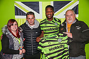 Forest Green Rovers Ebou Adams(14) receives his man of the match award from match sponsors KB Coaches during the Leasing.com EFL Trophy match between Forest Green Rovers and Coventry City at the New Lawn, Forest Green, United Kingdom on 8 October 2019.