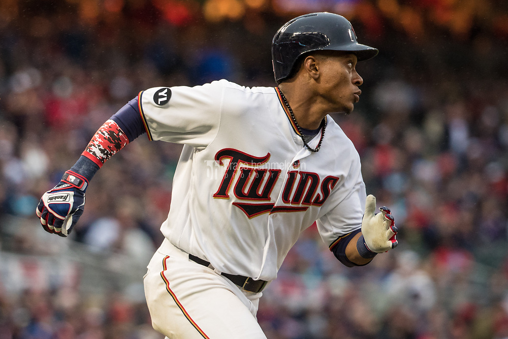 MINNEAPOLIS, MN- APRIL 3: Jorge Polanco #11 of the Minnesota Twins runs against the Kansas City Royals on April 3, 2017 at Target Field in Minneapolis, Minnesota. The Twins defeated the Royals 7-1. (Photo by Brace Hemmelgarn) *** Local Caption *** Jorge Polanco