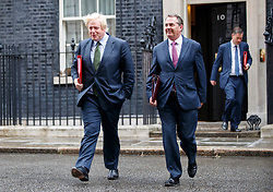 © Licensed to London News Pictures. 27/06/2017. London, UK. Foreign Secretary BORIS JOHNSON and International Trade Secretary LIAM  FOX attend a cabinet meeting in Downing Street, London on Tuesday, 27 June 2017. Photo credit: Tolga Akmen/LNP