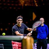 Roger Federer traint in Rotterdam