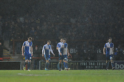 Bristol Rovers players cut dejected figures after going 2 - 1 down - Photo mandatory by-line: Dougie Allward/JMP - Tel: Mobile: 07966 386802 14/12/2013 - SPORT - Football - Morecombe - Globe Arena - Morecombe v Bristol Rovers - Sky Bet League Two