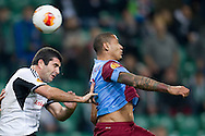 (L) Legia's Vladimer Dvalishvili fights for the ball with (R) Trabzonspor's Paulo Henrique during the UEFA Europa League Group J football match between Legia Warsaw and Trabzonspor AS at Pepsi Arena Stadium in Warsaw on November 07, 2013.<br /> <br /> Poland, Warsaw, November 07, 2013<br /> <br /> Picture also available in RAW (NEF) or TIFF format on special request.<br /> <br /> For editorial use only. Any commercial or promotional use requires permission.<br /> <br /> Mandatory credit:<br /> Photo by © Adam Nurkiewicz / Mediasport