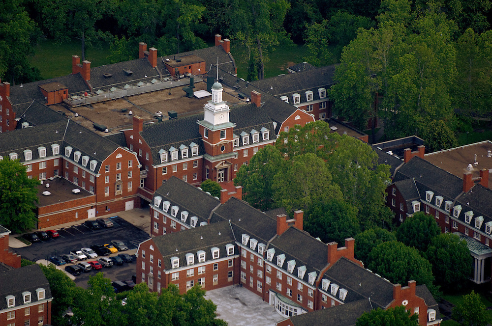 Aerial view of Stocker Center on West Green. © Ohio University