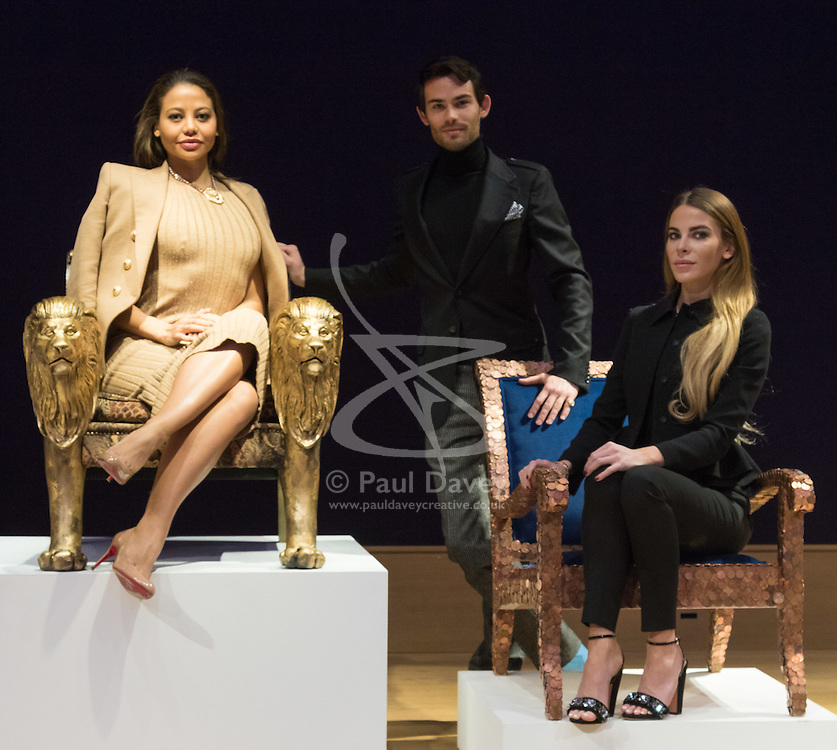 """Bonhams, London, February 29th 2016. Emma, Viscountess Weymouth of Longleat seated in the Lion chair she created with Made In Chelsea stars Mark Francis Vandelli and Victoria Baker-Harber during a photocall for """"Sitting Pretty"""", featuring unique, hand painted and upholstered chairs made by 30 celebrities and artists, at Bonhams ahead of their auction in support of a leading AIDS charity, CHIVA Africa.<br /> ©Paul Davey<br /> FOR LICENCING CONTACT: Paul Davey +44 (0) 7966 016 296 paul@pauldaveycreative.co.uk"""