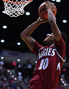SAN DIEGO, CA - MARCH 16:  Jemerrio Jones #10 of the New Mexico State Aggies gets a layup against the Clemson Tigers during a first round game of the Men's NCAA Basketball Tournament at Viejas Arena in San Diego, California. Clemson won 79-68.  (Photo by Sam Wasson)