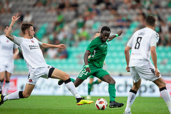 Michael Carvill of FC Crausaders and Kingsley Boateng of NK Olimpija Ljubljana during 1st Leg football match between NK Olimpija Ljubljana and FC Crausaders in 2nd Qualifying Round of UEFA Europa League 2018/19, on July 26, 2018 in SRC Stozice, Ljubljana, Slovenia. Photo by Urban Urbanc / Sportida