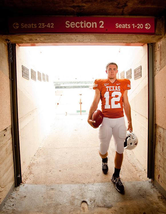 Colt McCoy, Quarterback, Texas Longhorns. Photographed at Darrell K. Royal-Texas Memorial Stadium at the University of Texas at Austin in Austin, Texas on Wednesday, May 6 2009. Photograph © 2009 Darren Carroll