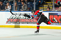 KELOWNA, BC - NOVEMBER 8: Pavel Novak #11 of the Kelowna Rockets takes a shot on net during third period against the Medicine Hat Tigers at Prospera Place on November 8, 2019 in Kelowna, Canada. (Photo by Marissa Baecker/Shoot the Breeze)