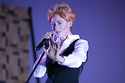 Jill Rittinger (as David Bowie) performs in a reenactment of Bowie's 1976 arrest at Bowioke at Visual Studies Workshop in Rochester on Saturday, October 31, 2015.