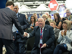© Licensed to London News Pictures . 13/06/2016 . Liverpool , UK . Chancellor of the Exchequer , GEORGE OSBORNE shakes hands with the Mayor of Liverpool JOE ANDERSON at the International Festival for Business at the Liverpool Exhibition Centre . Photo credit: Joel Goodman/LNP