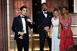 """Jan 8, 2017 - Beverly Hills, California, U.S - The Golden Globe is awarded to DAMIEN CHAZELLE for BEST DIRECTOR – MOTION PICTURE for """"La La Land"""" at the 74th Annual Golden Globe Awards at the Beverly Hilton in Beverly Hills, CA on Sunday, January 8, 2017. (Credit Image: ? HFPA/ZUMAPRESS.com)"""