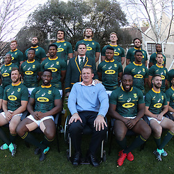 BLOEMFONTEIN, SOUTH AFRICA - JUNE 15: The South African Team with Andre Venter during South African (Springbok) team photo at the pool area of the team hotel, Tsogo Sun Bloemfontein.On June 15, 2018 in Bloemfontein, South Africa. (Photo by Steve Haag/Getty Images)