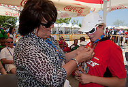 (L) Anna Komorowska - First Lady of Poland & (R) athlete Agnieszka Sobczyk of SO Poland after cycling competition during 2011 Special Olympics World Summer Games Athens on June 27, 2011..The idea of Special Olympics is that, with appropriate motivation and guidance, each person with intellectual disabilities can train, enjoy and benefit from participation in individual and team competitions...Greece, Athens, June 27, 2011...Picture also available in RAW (NEF) or TIFF format on special request...For editorial use only. Any commercial or promotional use requires permission...Mandatory credit: Photo by © Adam Nurkiewicz / Mediasport