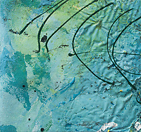 enamel art on canvas:curved lines on irregular blue texture