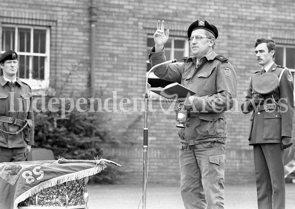 The Blessing and Raising of the 58th Infantry Battalion Flag at McKee Barracks, 16/10/1985 (Part of the Independent Newspapers Ireland/NLI Collection).