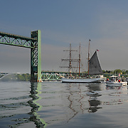 Tall ship Gazela approaches the Sarah Mildred Long Bridge in Portsmouth, NH