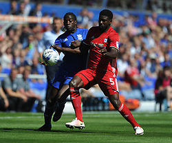 BRUNO MANGA CARDIFF CITY BATTLES WITH BIRMINGHAMS CLAYTON DONALDSON, Birmingham City v Cardiff City Sky Bet Championship  6th August 2016 <br /> Photo: Mike Capps
