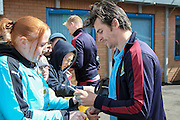 Joey Barton (Burnley) arrives at the ground and signs autographs for the fans before the Sky Bet Championship match between Burnley and Queens Park Rangers at Turf Moor, Burnley, England on 2 May 2016. Photo by Mark P Doherty.