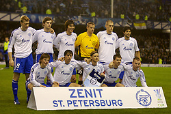 Liverpool, England - Wednesday, December 5, 2007: Zenit St. Petersburg's players line-up for a team photo before the UEFA Cup Group A match against Everton at Goodison Park. Back row L-R: Pavel Pogrebnyak, Nicolas Lombaerts, Kim Dong Jin, goalkeeper Vyacheslav Malafeev, Martin Skrtel, Alejandro Dominguez. Front row L-R: Andrey Arshavin, Radek Sirl, captain Anatoliy Tymoschuk, Konstantin Zyrianov, Aleksandr Anyukov. (Photo by David Rawcliffe/Propaganda)