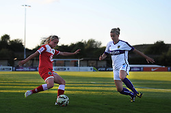 Nadia Lawrence of Bristol Academy is closed down by Oxford United's Kat Nutman - Mandatory byline: Dougie Allward/JMP - 07966386802 - 27/08/2015 - FOOTBALL - Stoke Gifford Stadium -Bristol,England - Bristol Academy Women FC v Oxford United Women - FA WSL Continental Tyres Cup